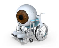Brown eyeball with arms and legs on a wheelchair Royalty Free Stock Image