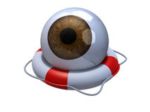 Brown eyeball in lifebuoy over white. 3d illustration Stock Image