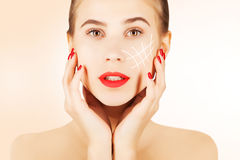 Brown eyed blond model portrait with skin surgery mark Royalty Free Stock Photos