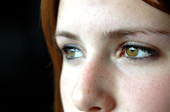 Brown eyes. Close up of a girls face with brown eyes looking away(focus on right eye stock photo