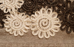 Brown fabric with large flowers Royalty Free Stock Photo