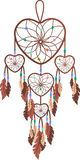 Brown, faith, feathers, freedom, peace. Brown dreamcatcher in the shape of hearts Stock Photo