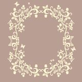 Brown or fallow beautiful illustration f floral ornament Royalty Free Stock Photos
