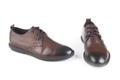 Brown-Farblederschuhe Lizenzfreies Stockfoto