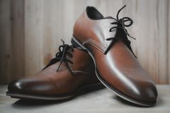 Fashion leather male shoes. Brown fashion leather male shoes Royalty Free Stock Photo