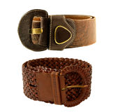 Brown fashionable leather Belts Royalty Free Stock Images