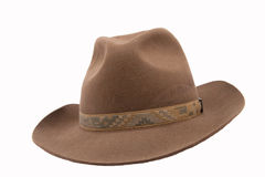 Brown fedora felthat. Isolated on white background stock photos