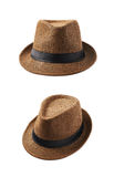 Brown fedora hat isolated. Over the white background, set of two different foreshortenings Stock Photo