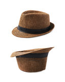 Brown fedora hat isolated. Over the white background, set of two different foreshortenings Royalty Free Stock Photography