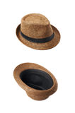Brown fedora hat isolated. Over the white background, set of two different foreshortenings Royalty Free Stock Photos