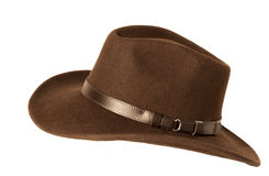 Brown felt hat. Brown man felt hat isolated on white royalty free stock photos