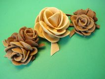 Brown felt roses Royalty Free Stock Photography