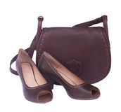 Brown female bag with shoes and scarf Stock Photography