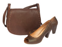 Brown female bag with shoes and scarf Royalty Free Stock Image