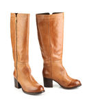 Brown female boots isolated on white background Royalty Free Stock Photo