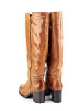Brown female boots isolated on white background Royalty Free Stock Image