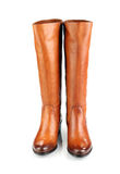 Brown female boots isolated on white background Royalty Free Stock Photography