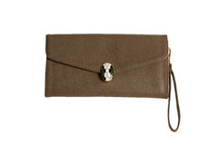 Brown female clutch bag Royalty Free Stock Image
