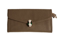Brown female clutch bag Stock Photos