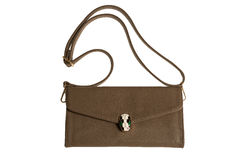 Brown female clutch bag Royalty Free Stock Images