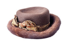 Brown female fur hat isolated on white Stock Photos