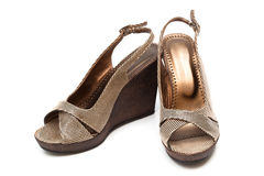 Brown female shoes Royalty Free Stock Photos