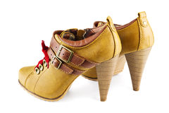 Brown female shoes Stock Images