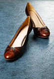 Brown female shoes Stock Image