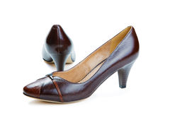 Brown female shoes isolated Stock Photo