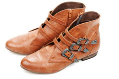 Brown feminine loafers Stock Photography