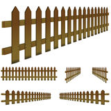 Brown fence. Set of perspective, brown fence isolated on white background Stock Images