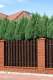 Brown fence. Near the street Royalty Free Stock Photo