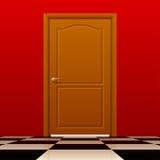 Brown a fermé la porte avec le mur rouge et le plancher brillant d'échecs illustration stock