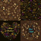 Brown festive cards with floral patterns Stock Photography