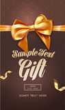 Brown Festive greeting card or flyer with bow and ribbon. Vector illustration Royalty Free Stock Images