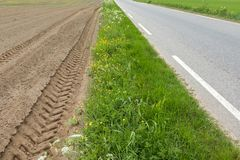 A brown field with ploughed rows of dirt with tractor tracks, next to grass and asphalt road Royalty Free Stock Images