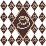 Brown filiżanki diamentowy wzór z etykietką Obraz Royalty Free