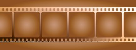 Brown film outline. A single piece of film that can be used as a background or place holder for some images Royalty Free Stock Image