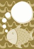 Bubble Speech Fish Greeting Card. Brown fish greeting card with a thinking bubble speech. Let`s go fishing Stock Image