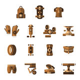 Brown flat icons for longboarder Royalty Free Stock Photo