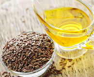 Brown flax seed and linseed oil Stock Images