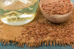 Brown flax seed and linseed oil Stock Image