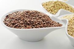 Brown flax seeds Stock Photos