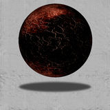 Brown Floating Sphere. On Paper  Space Royalty Free Stock Image