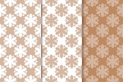 Brown floral backgrounds. Set of seamless patterns Royalty Free Stock Photography