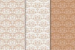 Brown floral backgrounds. Set of seamless patterns. For textile and wallpapers Stock Photos