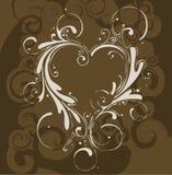 Brown floral com coração Imagem de Stock Royalty Free