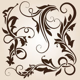Brown floral design element collection Stock Photos