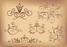 Brown floral design elements - set - vector Stock Photography
