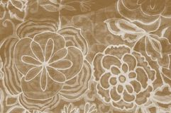 Brown floral fabric Stock Photography